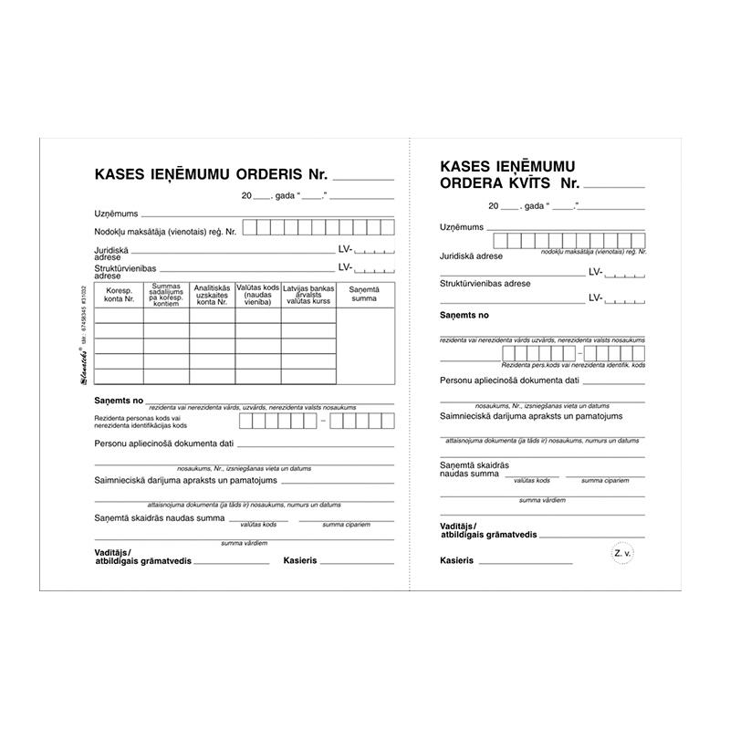 Veidlapa LANATEKS Kases ieņēmumu orderis ar noplēšamu kvīti, formāts A5/1