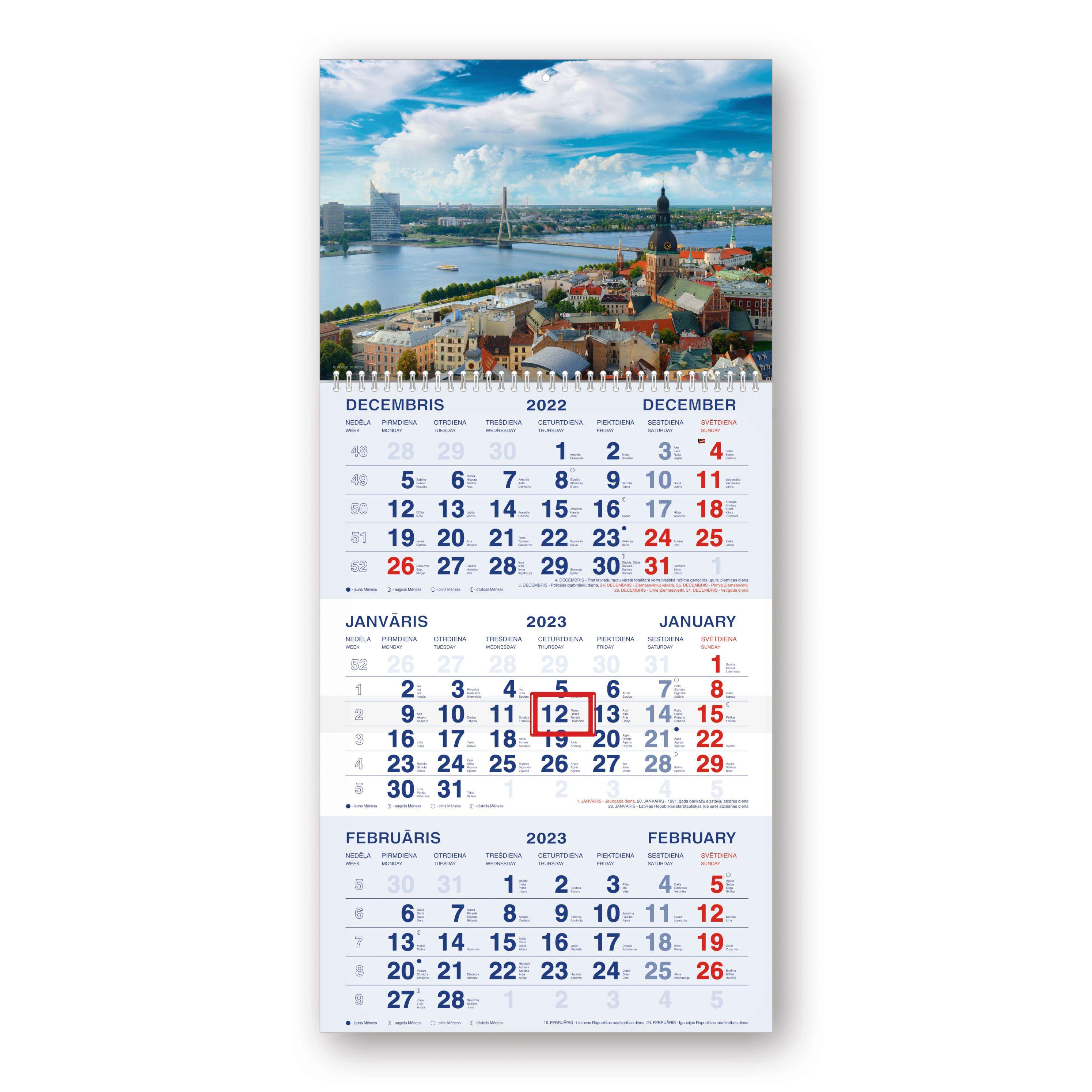 Sienas kalendārs 2019.gadam Mobile Serviss Standar..