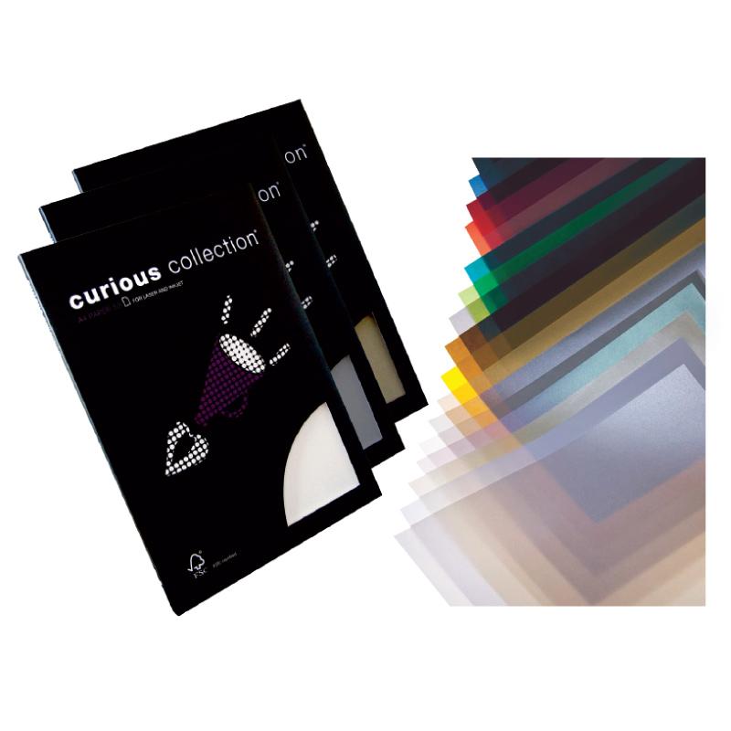 Caurspīdīgs dizaina papīrs CURIOUS Translucents A4 formāts 100g/m2, sudraba krāsa, 50 loksnes/pakā