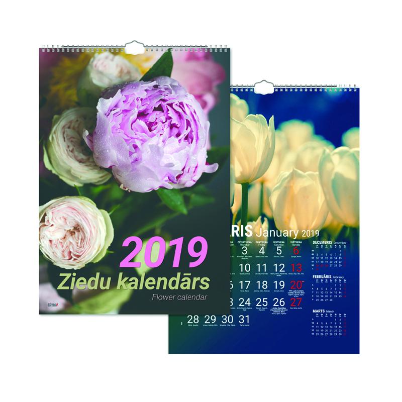 Sienas kalendārs 2019.gadam Timer Ziedu