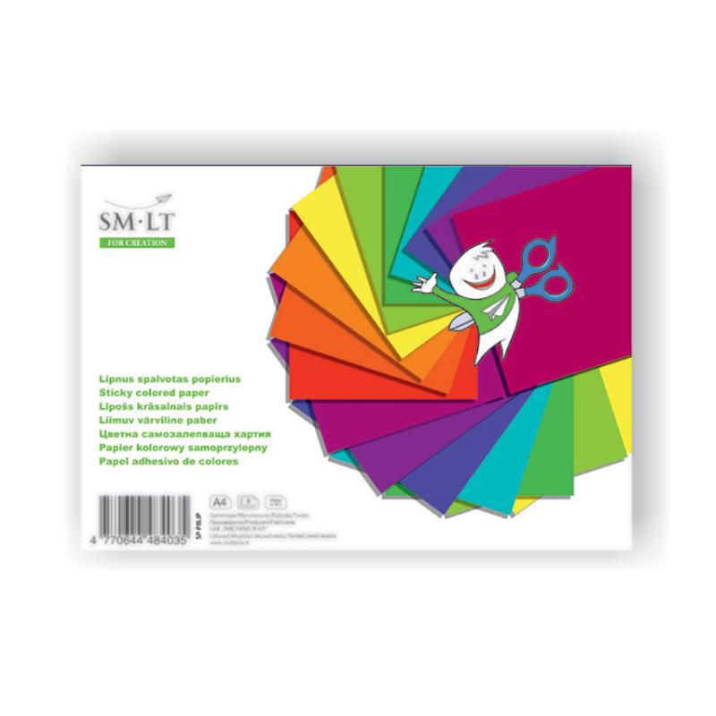 Krāsains papīrs SMILTAINIS pašlīmējošs, A4 formāts 8 loksnes/iepak.