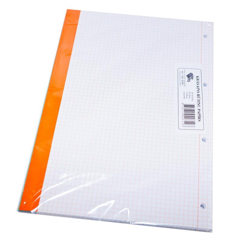 Rakstāmpapīrs ABC JUMS  A4 formāts, 80 loksnes krāsainas, rūtiņu ar caurumiem