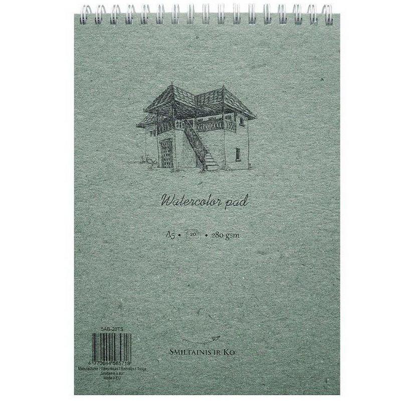 Akvareļu zīmēšanas bloknots ar spirāli  SMILTAINIS A5 formāts,280 g, 20 lapas