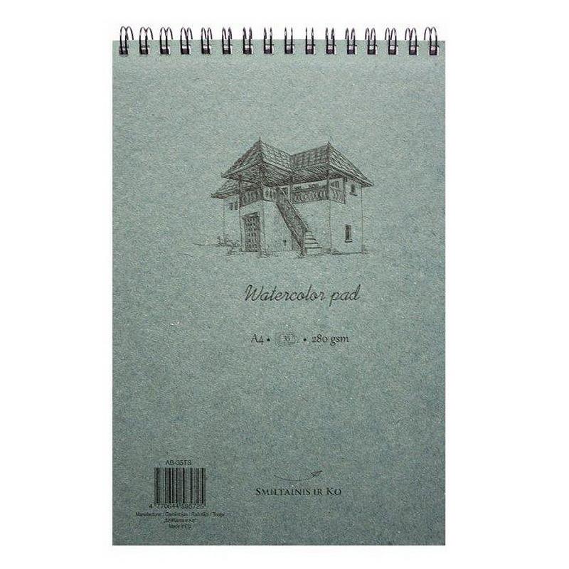 Akvareļu zīmēšanas bloknots ar spirāli  SMILTAINIS A4 formāts,280 g, 35 lapas