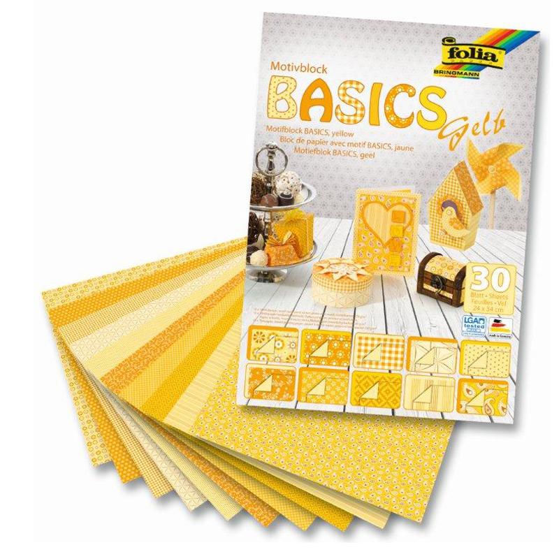 Dizaina papīrs FOLIA BASIC 30 loksnes komplektā, 24x34cm, dzeltenos toņos