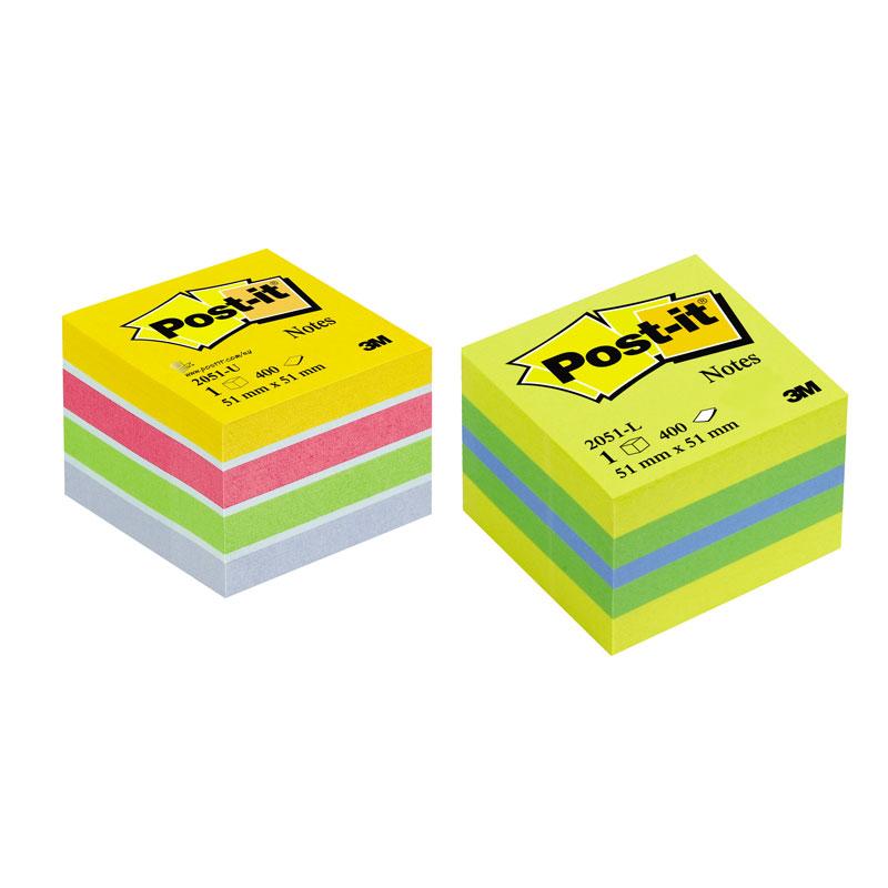 Piezīmju līmlapiņu MINI kubs POST-IT ULTRA 51x51mm, spilgtas krāsas, 400 lapiņas