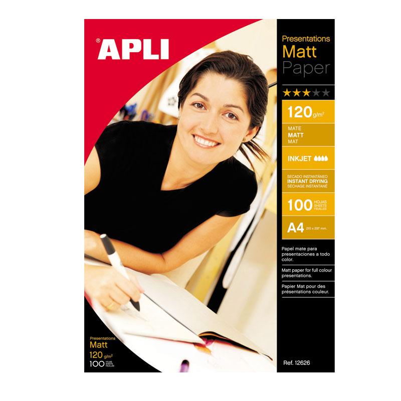 Papīrs APLI InkJet Matt A4 120g/m2, 100 loksnes/iepakojumā