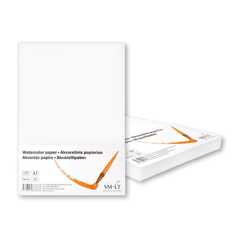 Akvareļu papīrs SMLT A3 200g/m2, 100 loksnes
