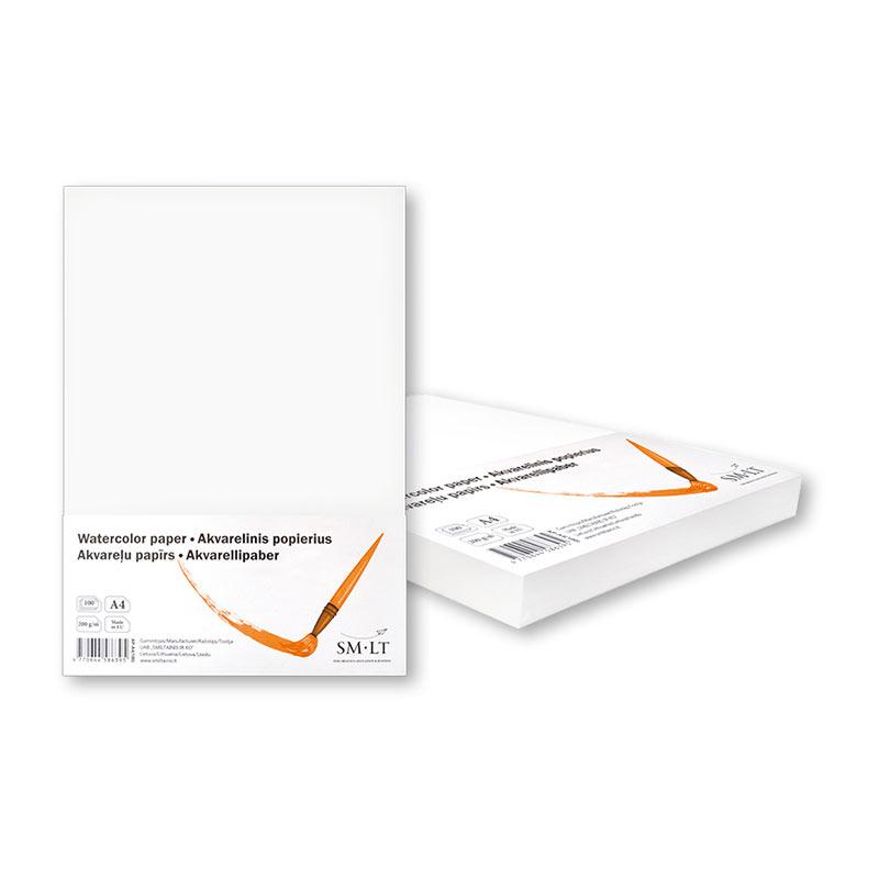 Akvareļu papīrs SMLT A4 200g/m2, 100 loksnes