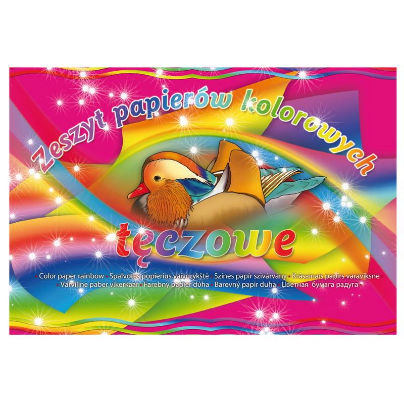 Krāsains papīrs KRESKA RAINBOW A4 formāts, 8 krāsas