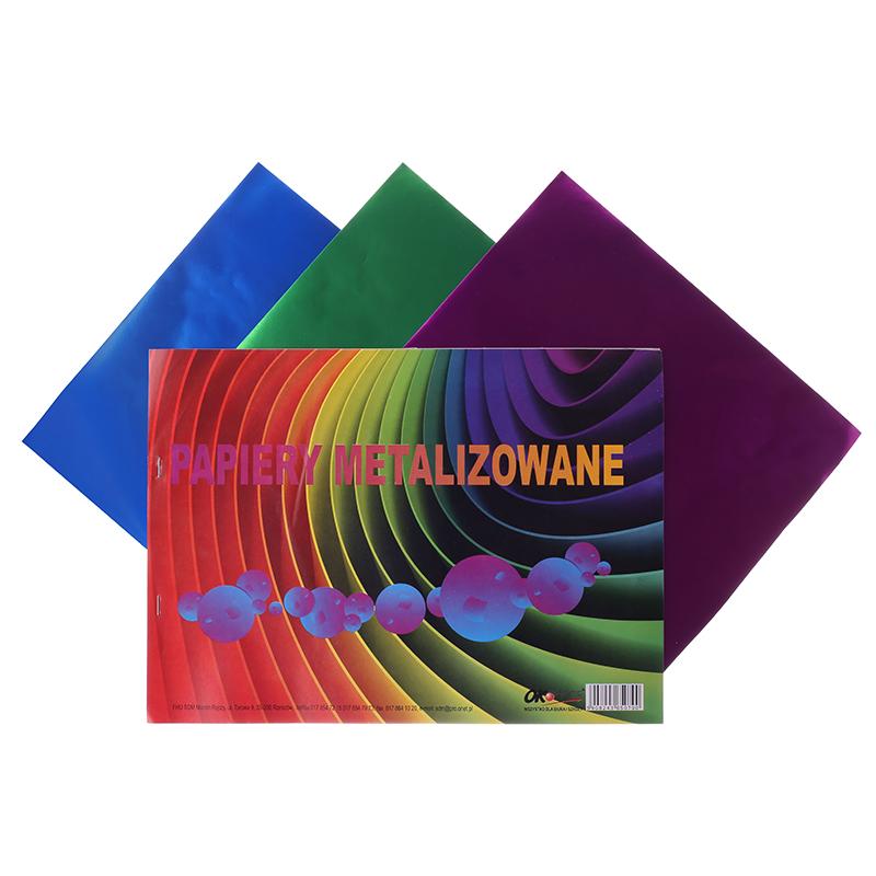 Krāsains papīrs C4, 6 loksnes, metālisks