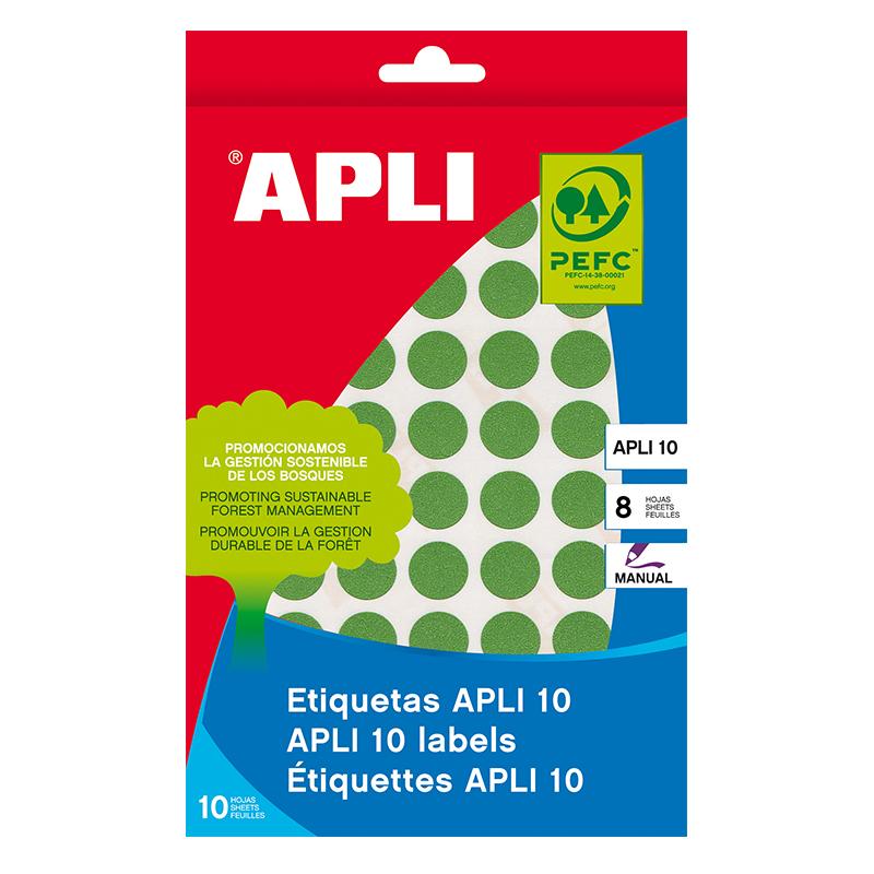 Apaļas uzlīmes APLI ar diametru 19mm, 8 loksnes/320 uzlīmes zaļas