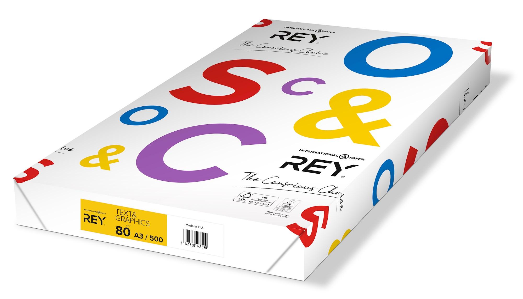Papīrs REY TEXT & GRAPHICS A3 80g/m2, 500 loksnes/iepakojumā