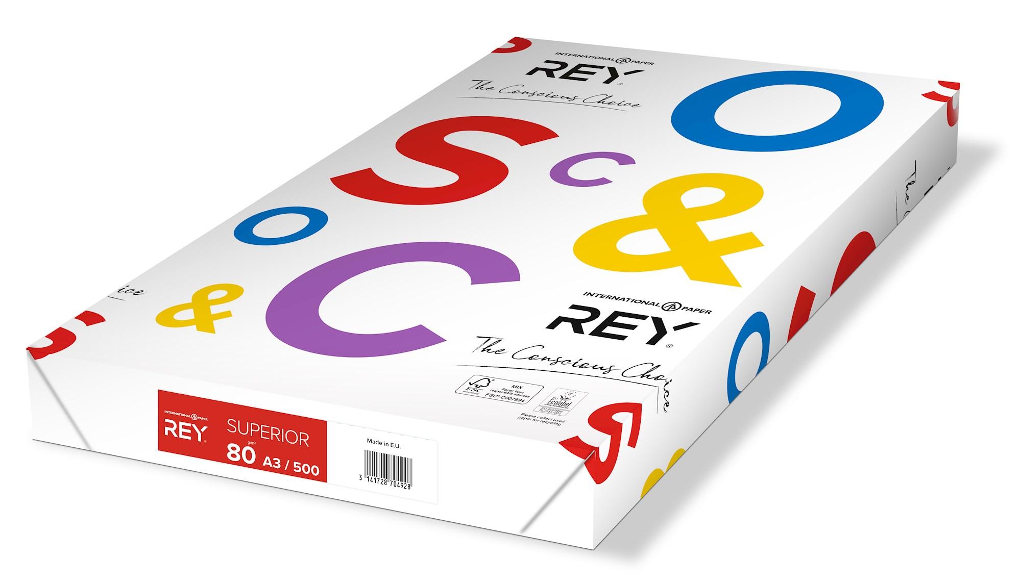 Papīrs REY SUPERIOR A3 80g/m2, 500 loksnes/iepakojumā