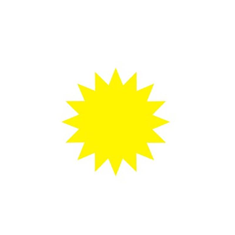 Cenu zīmes CENTA ZVAIGZNE dzeltena krāsa, 20 gab./iepakojumā, diam. 95 mm