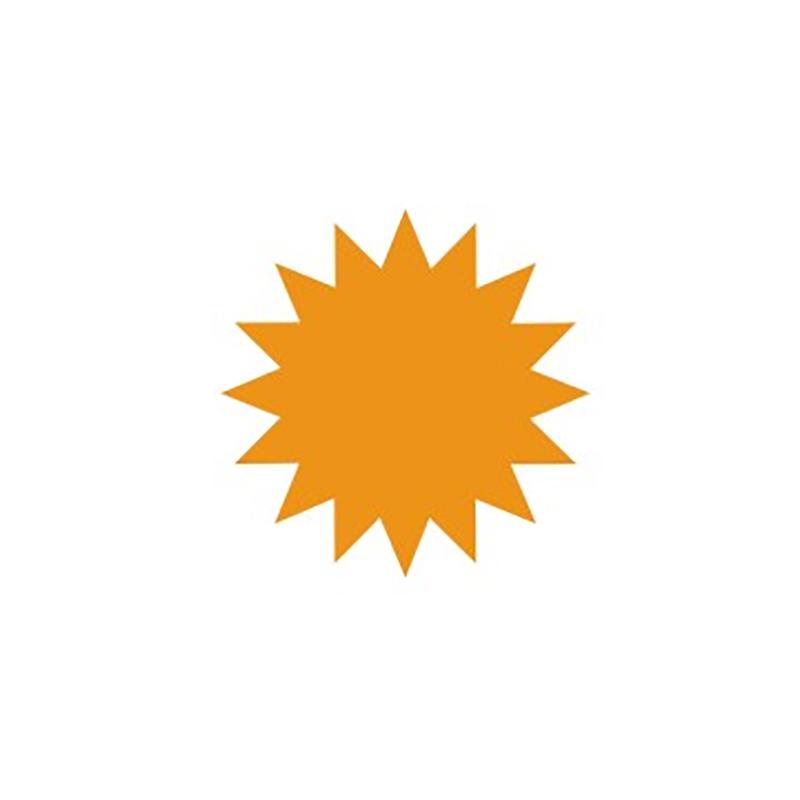 Cenu zīmes CENTA ZVAIGZNE oranža krāsa, 20 gab./iepakojumā, diam 95 mm