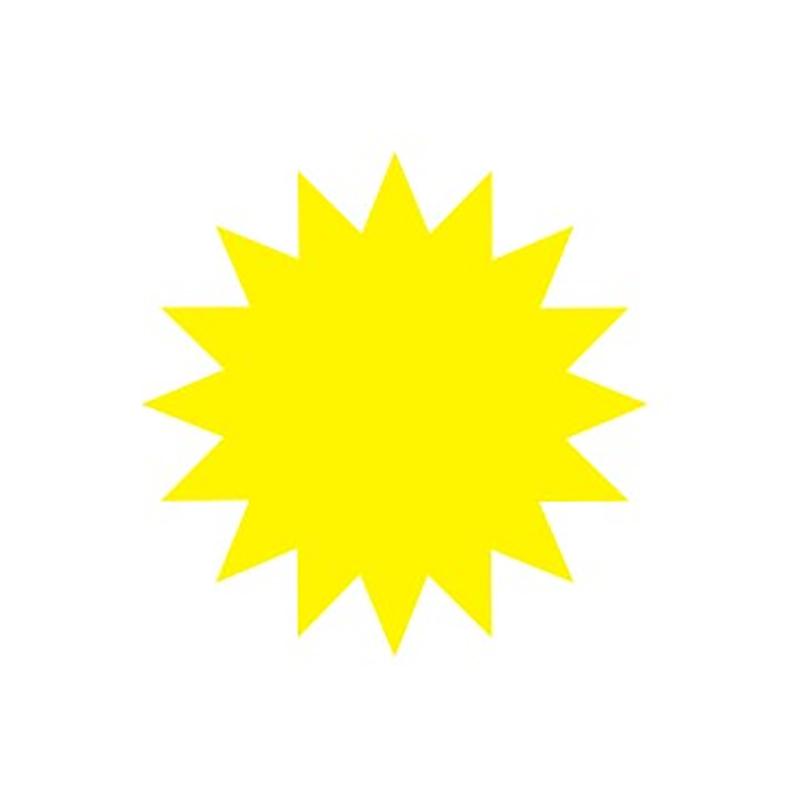 Cenu zīmes CENTA ZVAIGZNE dzeltena krāsa, 20 gab./iepakojumā, diam. 135 mm