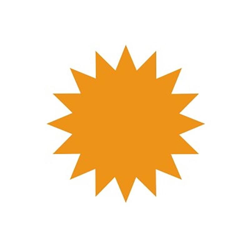 Cenu zīmes CENTA ZVAIGZNE oranža krāsa, 20 gab./iepakojumā, diam. 135 mm