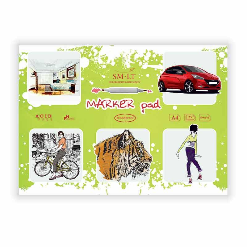 Zīmēšanas albums SMLT Marker Pad, A4, 100 g/m2, 25 lapas
