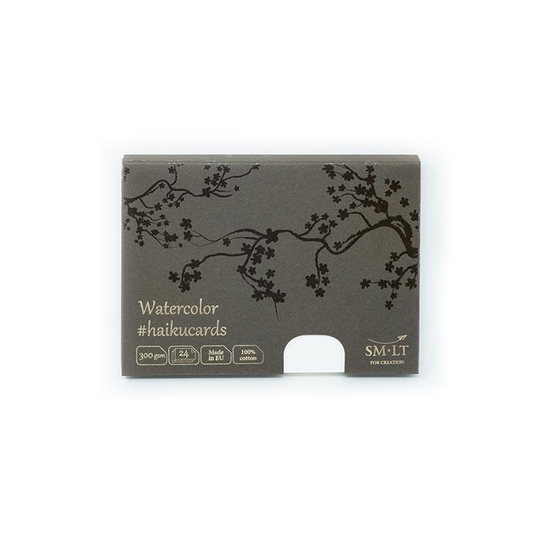 Zīmēšanas kartes SMLT Haikucards, 106.5 x 147 mm, A6, 24 kartes, 300 g/ m2, kokvilna papīrs, baltā krāsā