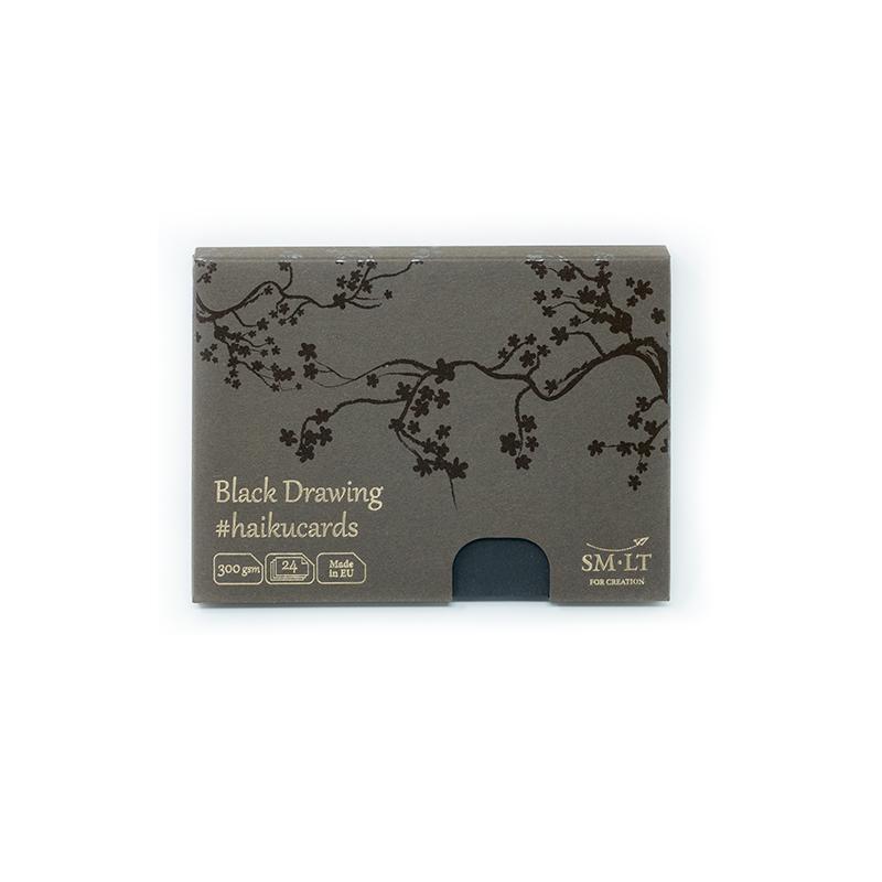 Zīmēšanas kartes SMLT Haikucards, 106.5 x 147 mm, A6, 24 kartes, 300 g/ m2, kartons, melnā krāsā