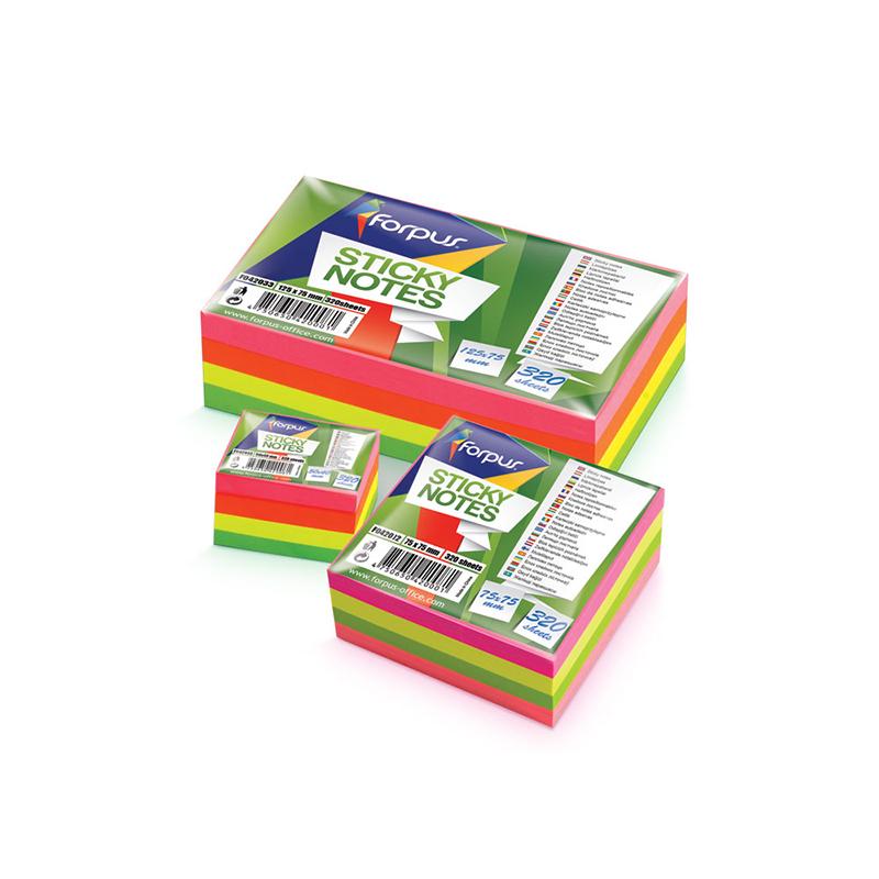 Piezīmju līmlapiņu kubs FORPUS 75x75mm, 320 krāsainas lapiņas
