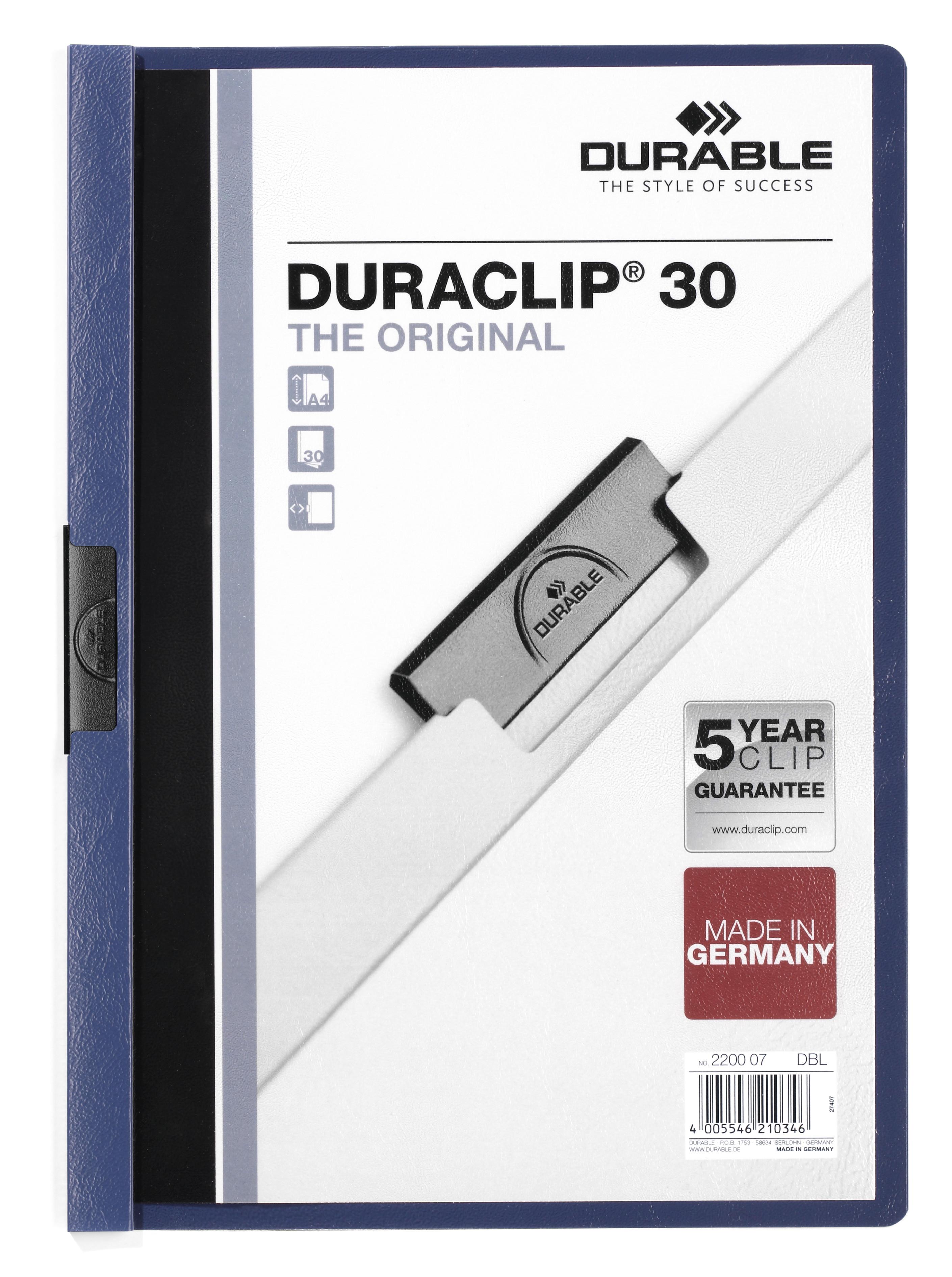 Mape DURABLE Duraclip Original 30, A4 formāts, tumši zila