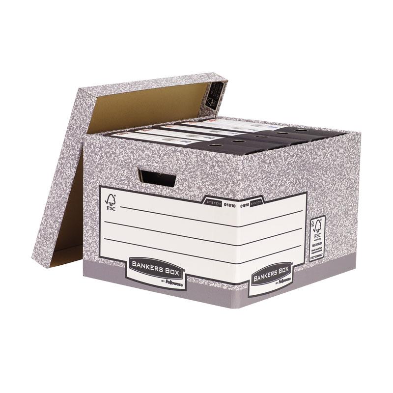 Konteiners FELLOWES arhīvu kārbām ar izmēru 287 x 380 x 430 mm, pelēkbaltā krāsā