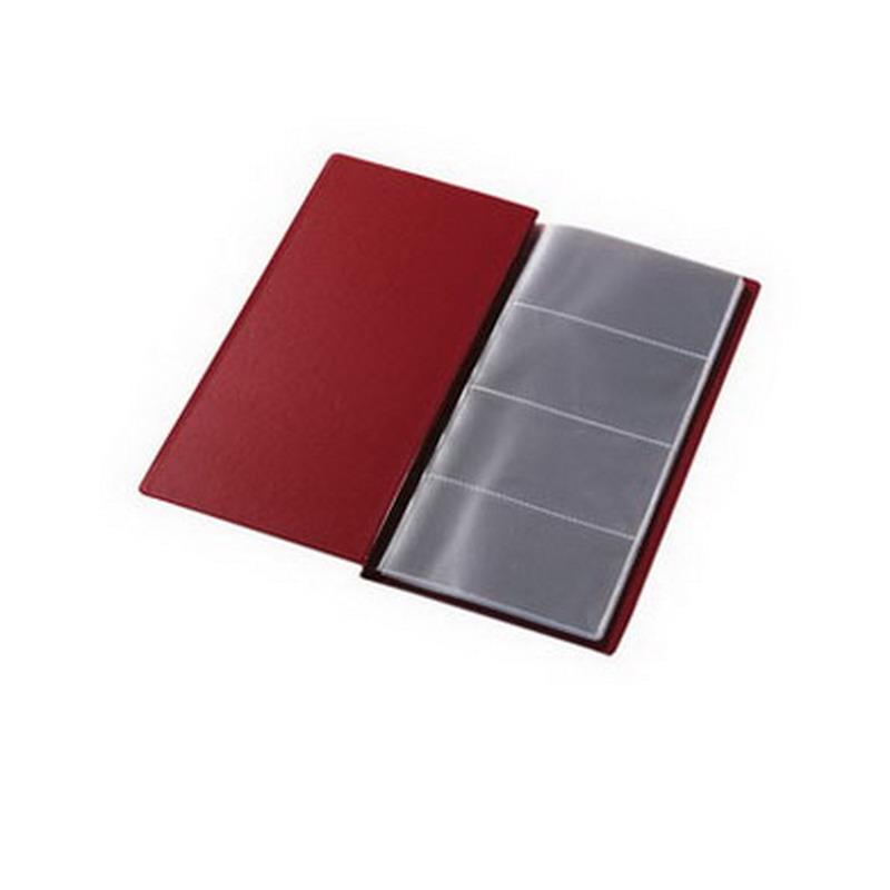 Vizītkaršu bloknots Pantaplast, 96 vizītkartēm, tumši sarkanā krāsā 24.5 cm x 12 cm