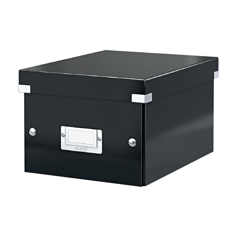 Arhīva kārba saliekama Leitz Click & Store, large, kartona, melna