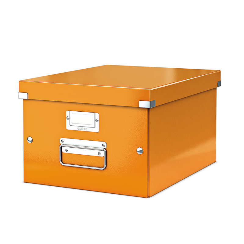 Arhīva kārba LEITZ CLICK'N'STORE WOW, A4, 200 x 281 x 370 mm, oranžā krāsā