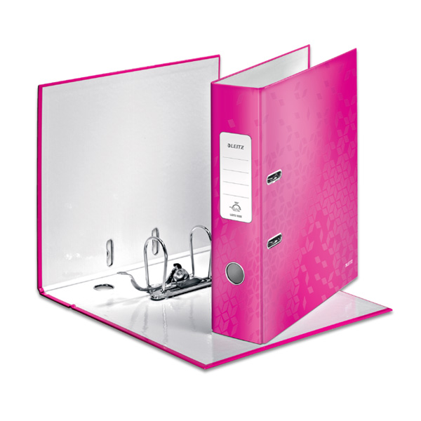Mape-reģistrs LEITZ WOW 180°, A4, 80mm, rozā