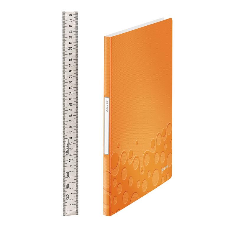 Mape prospektiem Leitz WOW ar 20 kabatiņām, A4 formāts, oranžā krāsā