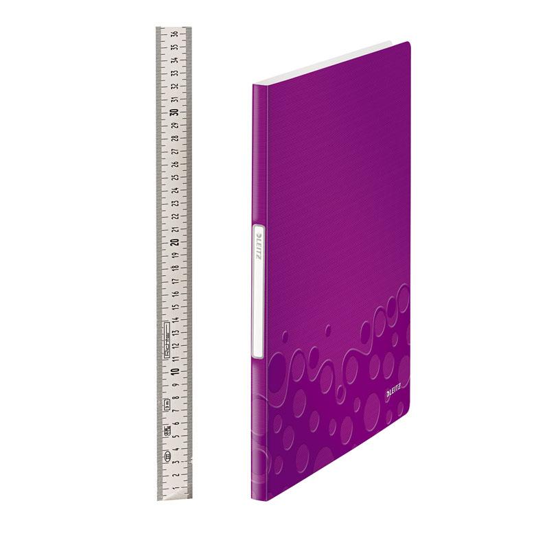 Mape prospektiem Leitz WOW ar 20 kabatiņām, A4 formāts, violeta krāsā