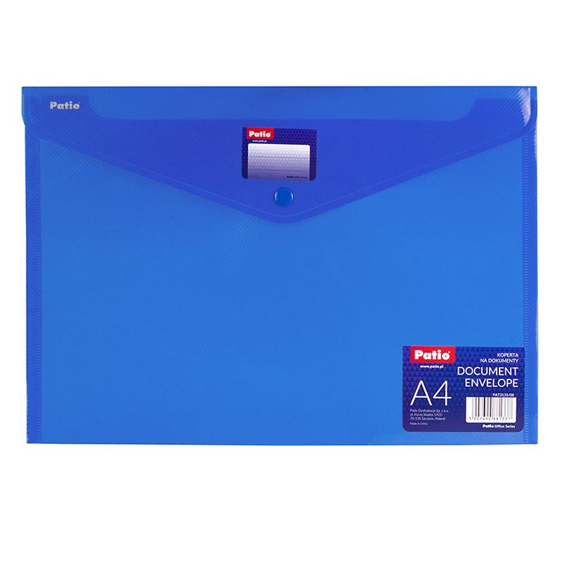 Mape-aploksne ar pogu PATIO PP, A4 formāts, zila
