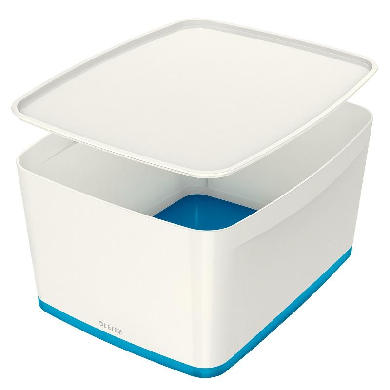 Kaste uzglabāšanai Leitz MyBox ar vāku, L izmērs, balta-zila krāsa