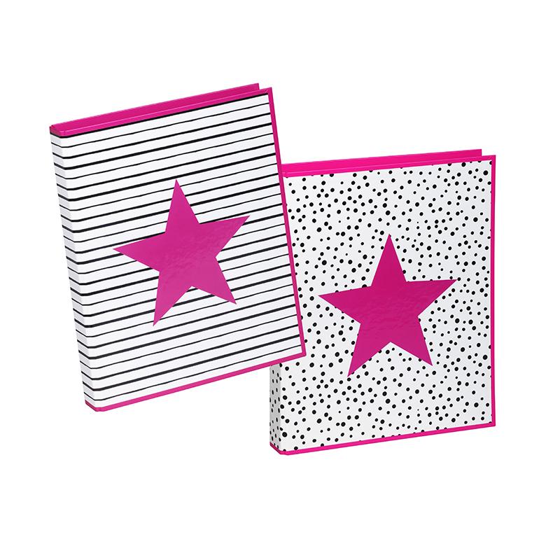 Mape PAGNA Pink Star, ar 2 gredzeniem, A4 formāts, platums 35 mm