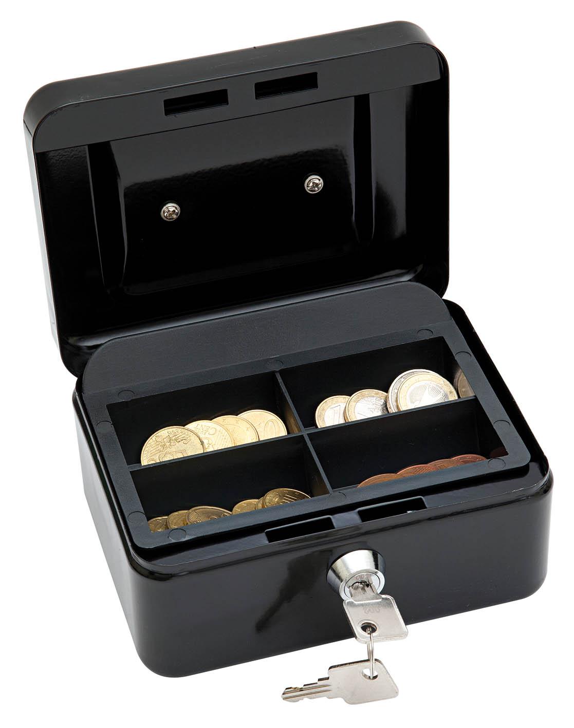 Naudas kaste WEDO ar izmēru 152x115x80mm, melna