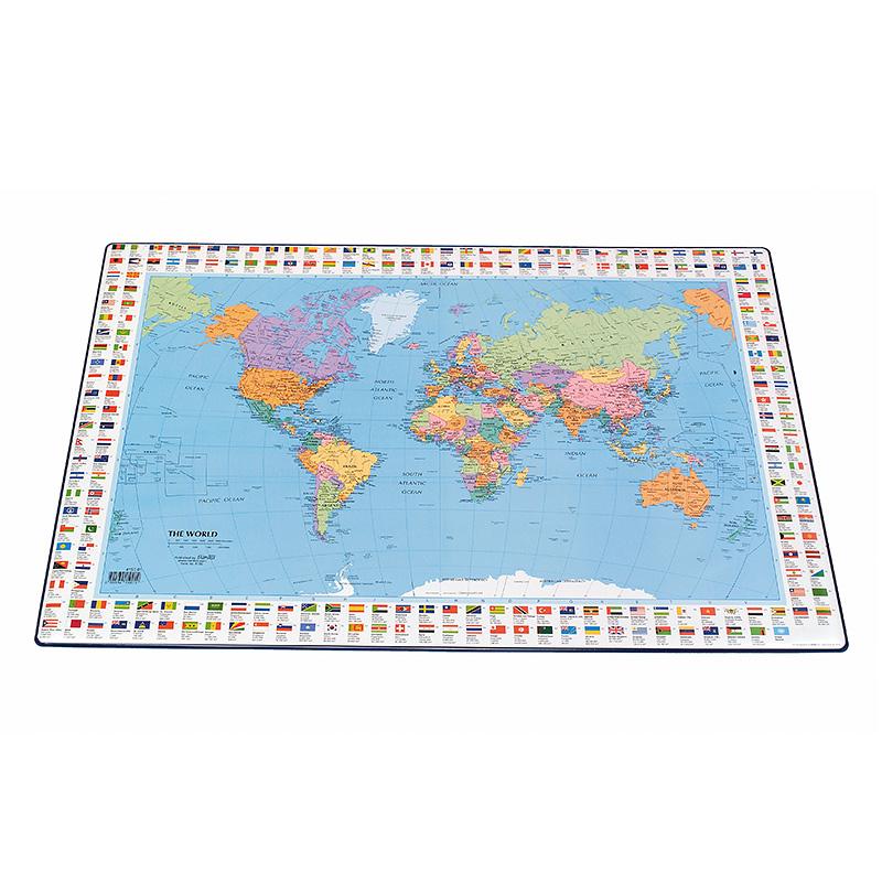 Galda segums Bantex 44x63 cm ar pasaules karti (angļu val.)