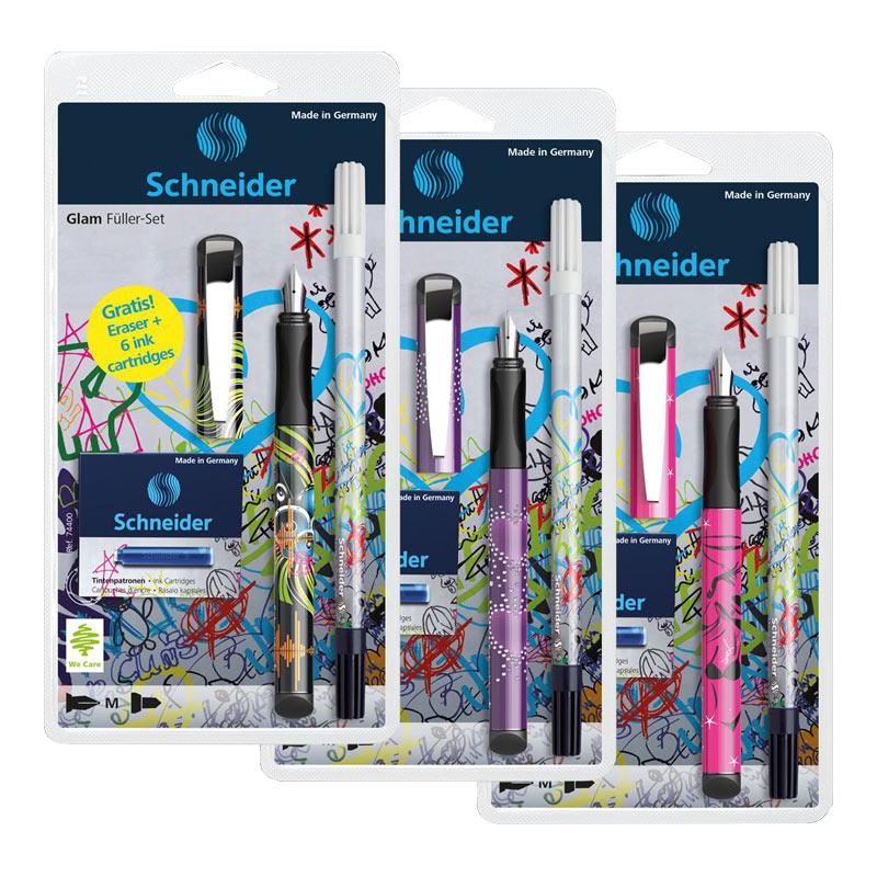 Tintes pildspalva SCHNEIDER GLAM akcijas komplekts: pildspalva, CORRY, tintes kapsulas, asorti korpuss