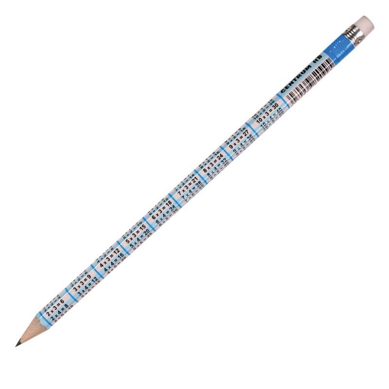 Zīmulis CENTRUM ar reizināšanas tabulu, noasināts, ar dzēšgumiju, HB