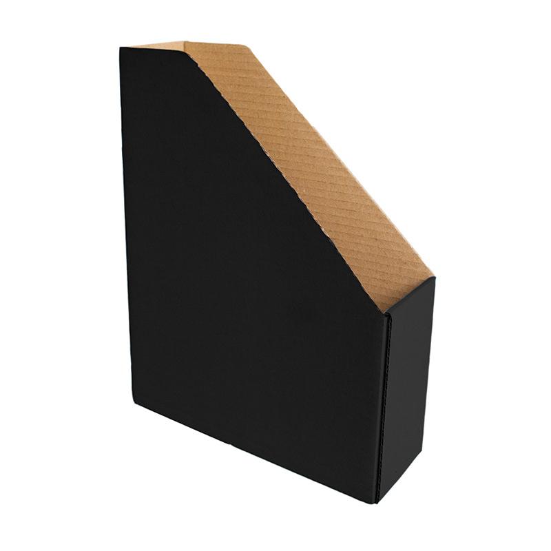 Dokumentu bokss Smiltainis no gofrēta kartona, platums 82 mm, melna krāsa