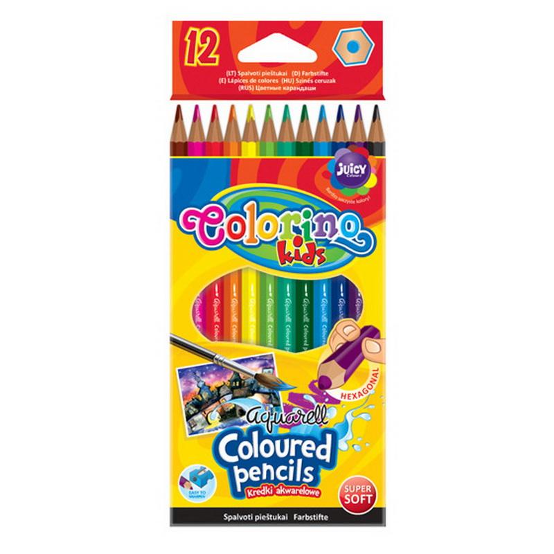 Krāsainie akvareļu zīmuļi COLORINO 12 krāsas, otiņa komplektā