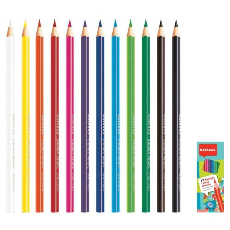 Krāsainie zīmuļi NATARAJ 12 krāsas, trīsstūra