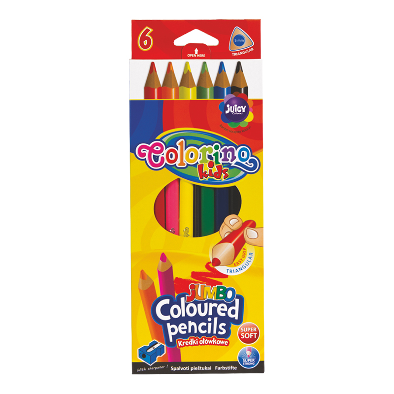 Trīsstura formas krāsainie zīmuļi COLORINO JUMBO 6 krāsas