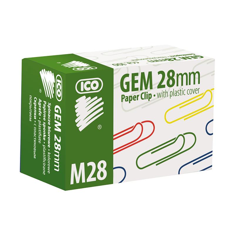 Saspraudes ICO 28 mm, 100 gab/kastītē, krāsainas