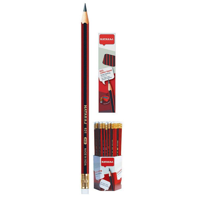 Zīmulis NATARAJ 621 HB, noasināts, ar dzēšgumiju