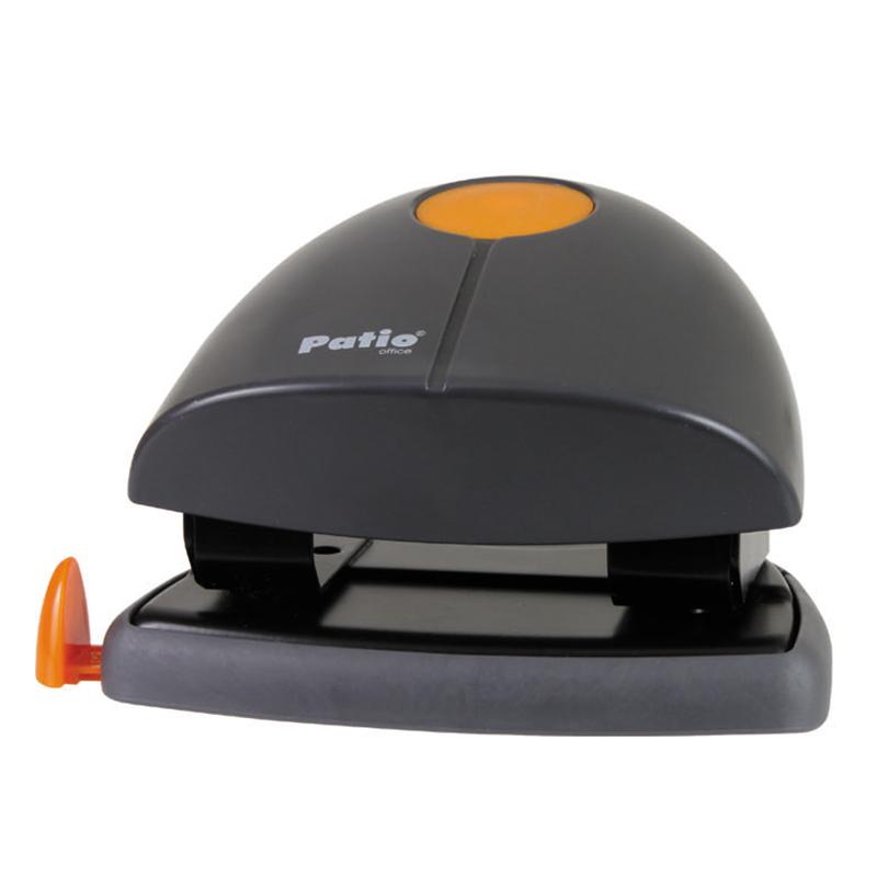 ---Caurumotājs PATIO, caurdur līdz 8 lapām, melna/oranža krāsa