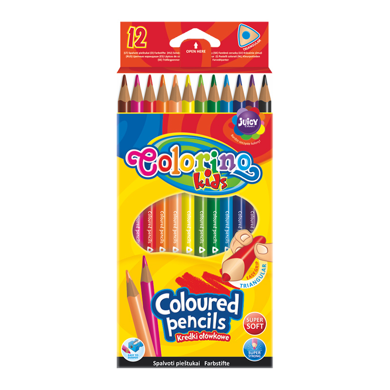 Krāsainie zīmuļi COLORINO KIDS 12 krāsas trīsstūraini