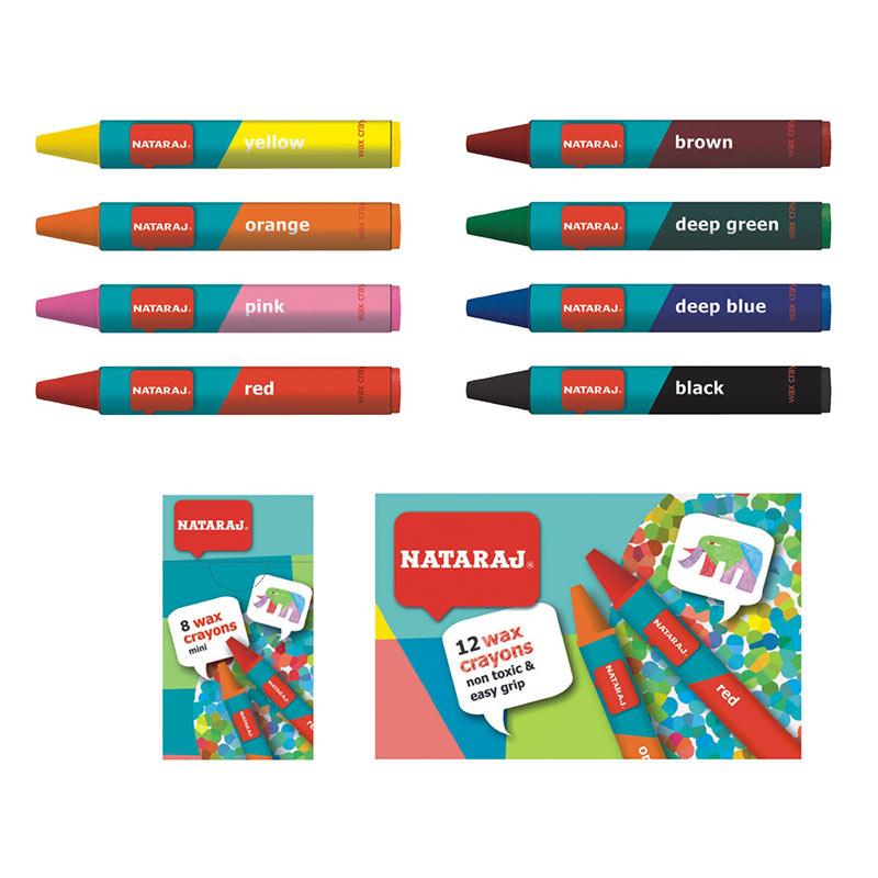 Vaska krītiņi NATARAJ, 60 mm, 12 krāsas